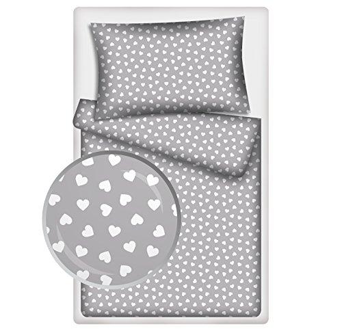 Kinderbettwäsche viele Designs 2-tlg. 100% Baumwolle 40x60 + 100x135 cm mit Reißverschluss (Herzchen grau)