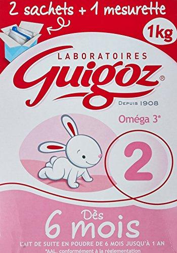 GUIGOZ 2  - Lait infantile 2ème âge en poudre - de 6 à 12 mois  - 1Kg - 2 sachets de 500g