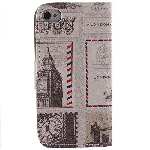 Housse iPhone 4S,Etui Coque Strass Case Protecteur Étui en Cuir Pour iPhone 4 4S Coque Portefeuille Housse de Protection Flip Case Cover - Pissenlit Style de Londres