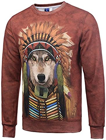 Pizoff Unisex Long Sleeves Round Neckline Elastic winter warmth thickened sweatshirts with cartoon Indian Chief wolf 3D print