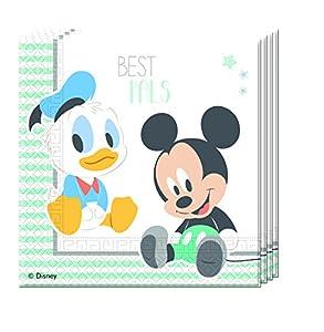 Procos 85590-Servilletas papel Baby Mickey & Donald, 20piezas, azul/blanco