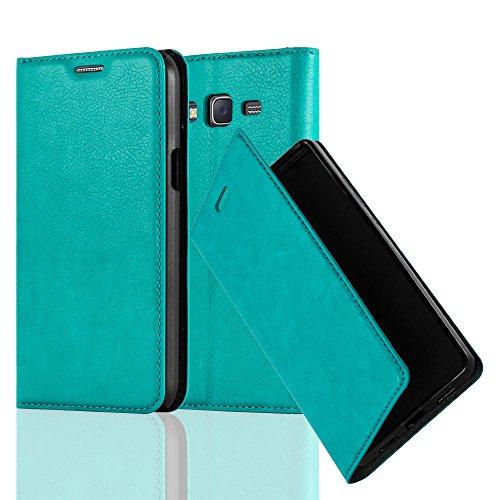 Cadorabo Hülle für Samsung Galaxy J5 2015 (5) - Hülle in Petrol TÜRKIS – Handyhülle mit Magnetverschluss, Standfunktion und Kartenfach - Case Cover Schutzhülle Etui Tasche Book Klapp Style