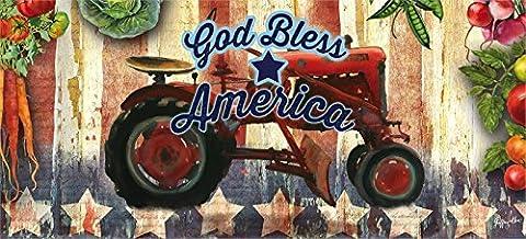 Evergreen Traktor God Bless America Dekorative Fußmatte einfügen, 25,4x 55,9cm