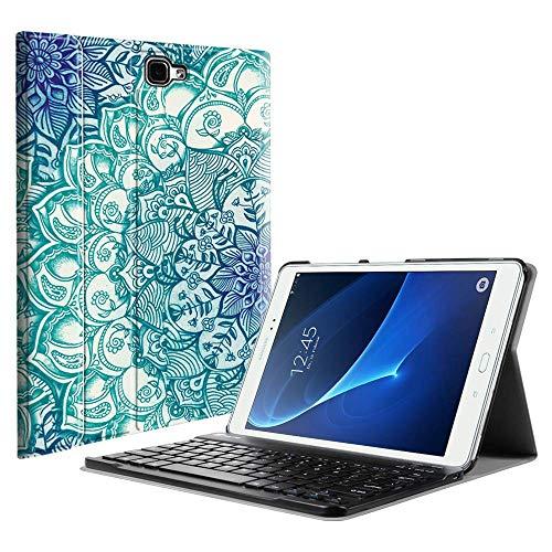 Fintie Bluetooth Tastatur Hülle für Samsung Galaxy Tab A 10,1 Zoll T580N / T585N Tablet - Ultradünn leicht Schutzhülle mit magnetisch Abnehmbarer Drahtloser Deutscher Bluetooth Tastatur, smaragdblau