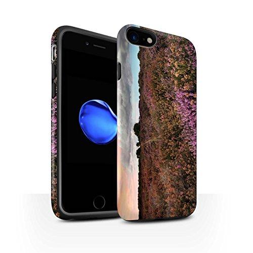 STUFF4 Matte Harten Stoßfest Hülle / Case für Apple iPhone 8 / Weizenfeld Muster / Britisch Landschaft Kollektion Lila Feld