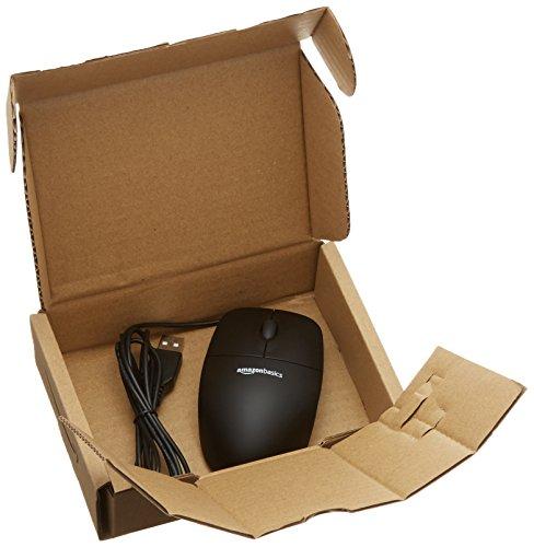 AmazonBasics - Ratón con 3 botones y cable USB, color negro