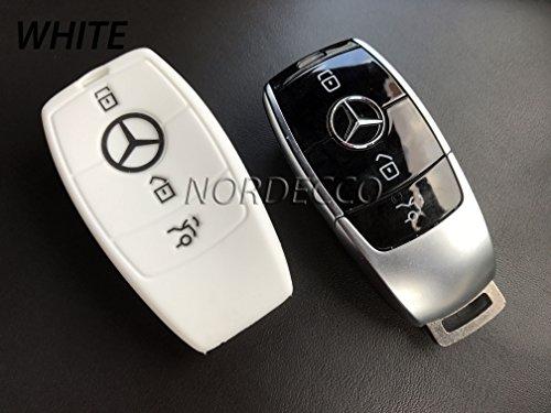 Silikontasche für Autoschlüssel mit 3 Knöpfen, Schutzhülle für Mercedes-Benz Modelle (2016-2017) C-Klasse, AMG E-Klasse, S-Klasse, CLA, GLA Hybrid, schwarz