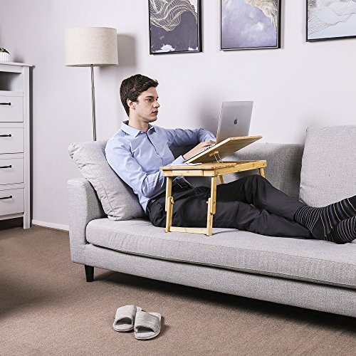 Songmics Mesa para ordenador portátil de Bambú Tableta inclinable Mesa Plegable Laptop Portátiles Ajustable H x B x T: 63.5 x 35 x 33.5 cm LLD01N