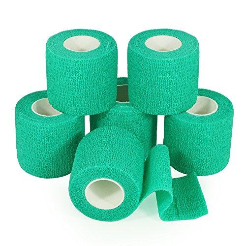 yumai vendaje adhesivo elástico Wrap vendaje cinta 5cm x 2,5m-Pack de 6aprobado por la FDA (color turquesa)