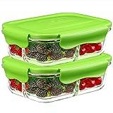 Besthouse [Lot de 2, 1040ML] Verre Boîte à Déjeuner à 3 Compartiments, Boîtes Verre Conteneurs de Stockage Alimentaire, Adaptées au Four, au Micro-Ondes, au Congélateur et au Lave-Vaisselle, sans BPA