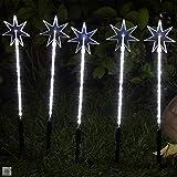 Sternenstäbe-Set mit 5 Garten sterne Leuchtstäbe 100 LED außen weihnachten von Gartenpirat