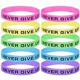 GOGO (Preis/10PCS) Never Give Up Silikon Armbänder, Händen Gummi Armbänder, Partyzubehör
