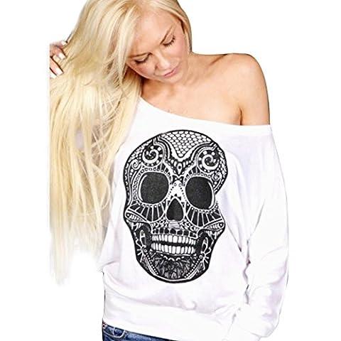 Impression T-shirt Femme, LMMVP Sexy Crâne Imprimé à Manches Longues Top Blouse épaule Chemise (s,
