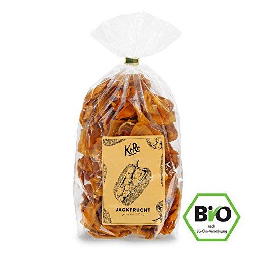 Getrocknete Jackfrucht ● Bio Qualität ● Ungeschwefelt ● Ohne Zusatz von Zucker ● Natürlich Süß ● 500 g Packung ● KoRo