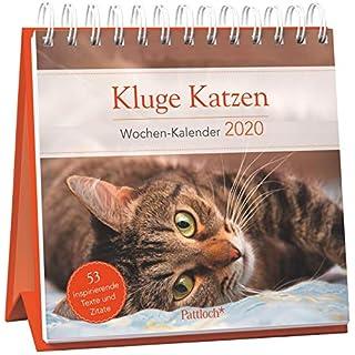 Kluge Katzen - Wochen-Kalender 2020: zum Aufstellen mit Fotos und Zitaten, inspirierende Texte auf den Rückseiten