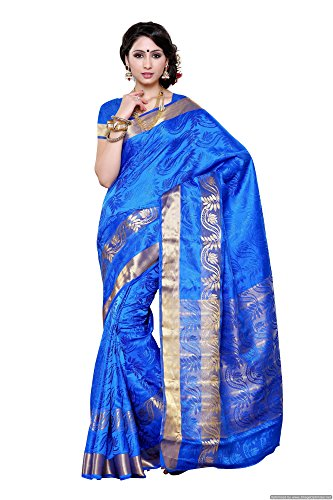 Mimosa Women's Artificial Silk Saree kanchipuram Uppada style, color :Royal Blue(3277-2093-SD-RBLU)  available at amazon for Rs.1299