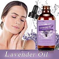 Aceite esencial de lavanda 118 ml, MANSI 100% puro y natural aceites esenciales biológicos, aceite de masaje y aceite aromático para aromaterapia, masaje, ayuda para dormir