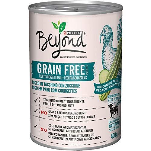 PURINA BEYOND Umido Cane Grain Free Bocconi in Patè con Tacchino e zucchine - 12 lattine da 400g ciascuna (confezione da 12x400g)