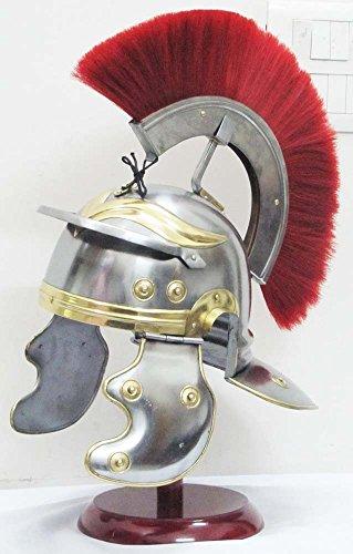 Skihelm Shiv Shakti Enterprise Centurio-Kriegerin Mittelalter Helm Rüstung Ritter aus Metall, mit rot-Plume Innenfutter