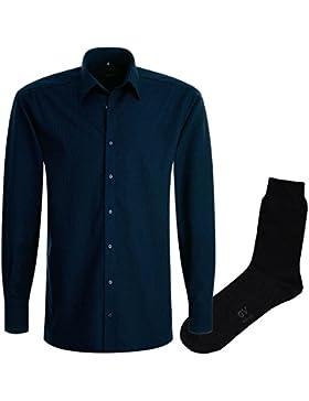ETERNA Herrenhemd Modern Fit, marine gepunktet, Druck + 1 Paar hochwertige Socken, Bundle