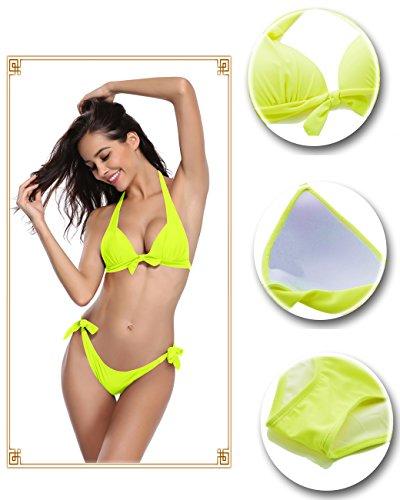 SHEKINI Damen Zweiteiler Neckholder Bikini Push up Rückenfrei Badeanzug Bademode Tankini Set Gelb