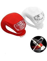 Silikon leuchten Set LED Clip-On Wasserdicht FahrradBeleuchtung Bicycle Bike Leuchten Lampe, 1 Weiße und 1 Rote Leuchte