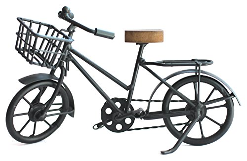 Deko Fahrrad mit Korb aus Metall und Sattel aus Holz für Geldgeschenke oder als Geschenkidee für Fahrradfahrer, kleines Miniatur Fahrrad Geschenk für Radfahrer Geschenke