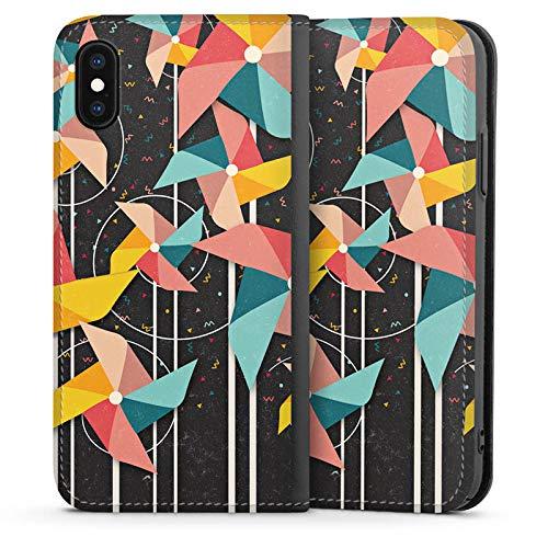 DeinDesign Leder Flip Case kompatibel mit Apple iPhone XS Tasche Hülle Windrad Pattern Muster - Windrad-tasche