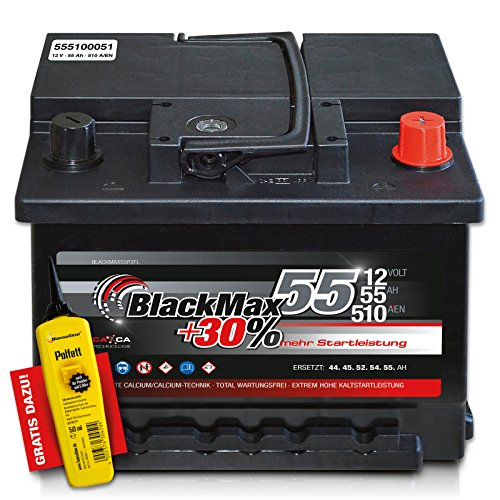 Preisvergleich Produktbild BlackMax+30% - 12 V / 55 Ah - 510 A/EN Autobatterie KFZ PKW Batterie inkl. Polfett