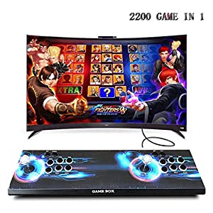 HLLGAME Pandora's Box Home Arcade Game Console Konsole, 2 Spieler, 1280×720 Full HD Multiplayer Arcade Joystick Spiele Game, 2200 Spiele All in 1 Double Stick Buttons Power HDMI/VGA/USB/AUX, QM02
