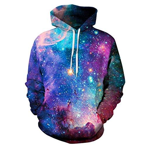Herren 3D Druck Kapuzenpullover Cartoon Sweatshirt Weihnachten Langarm Top Shirt Herbst Spaß Hoodie (L/XL, Blaue Galaxie)
