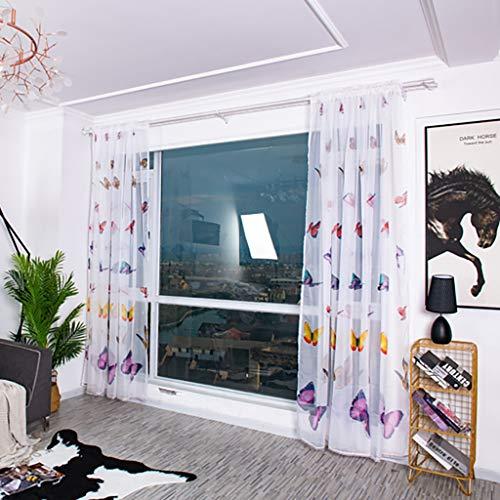 Blumen Schmetterling Transparent Voile Vorhang, Floral Vorhänge Tapete Reben Blätter Wandbilder Tüll Tür Fenster Vorhang für Wohnzimmer Schlafzimmer Studierzimmer 100cm x 200cm (Lila)