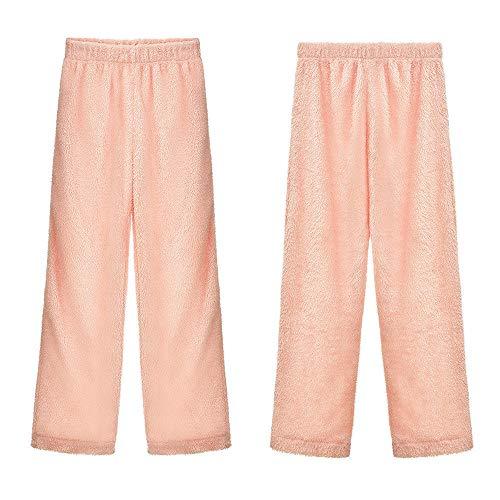 MENGZHEN 1 x Damen Schlafanzug Flanell Plüsch Pyjama PJ Hosen Warm Plüsch Lounge-Hose Nachtwäsche, 33#, XXL -