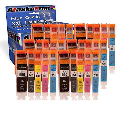 30x Druckerpatronen Komp. Für Canon PGI-550XL 550 XL CLI-551XL 551 XL mit Pixma IP7250 IP-7250 MX925 MX-925 IX6850 IX-6850 MX725 MX-725 Patronen