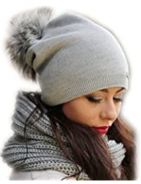 Damen Mütze Winter I Frauen Beany Strickmütze I Beanie mit KunstFellbommel Herbst Winter Bommelmütze mit großem Kunstfellbommel (ZI)
