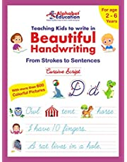 Cursive writing - Teaching kids to write in Beautiful Handwriting - From strokes to sentences - For age 2-6 years - ABC learning through pictures with words and sentences writing