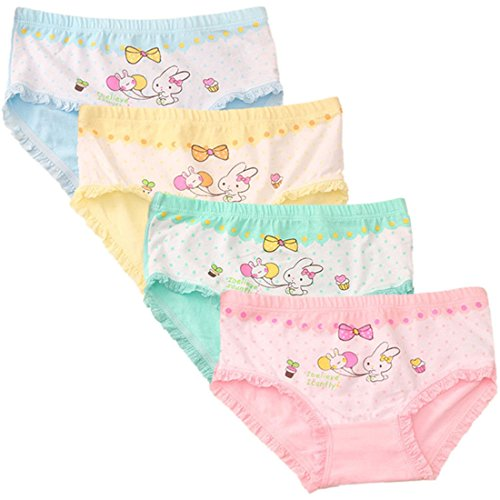 FAIRYRAIN Little Girls Kids 4 Pcs Cute Rabbit Boyshort Underwear Boxers Briefs Panties