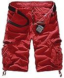 Mochoose Homme Pantalons Courts Coton de L'été Vintage Cargo Travail Casual Camouflage Shorts Multi Pockets Sport et Loisir(Vin Rouge,34)