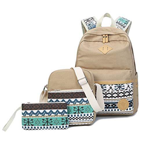 Rosa Junior Handtaschen (SPFBAG Rucksack Weiblich Leinwand Korean Freizeit College-Reisen Rucksack Junior High School Student Tasche dreiteilig)