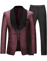 Costume 3 Pièces Homme Imprimé Élégant Jacquard Un Bouton Châle Rvers Slim Fit Tuxedo Mariage Bal Veste Gilet et Pantalon