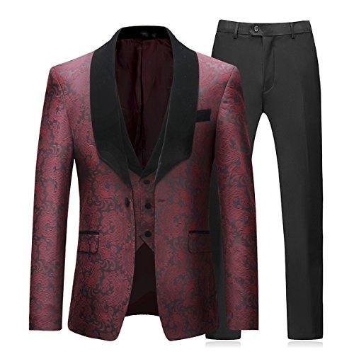 Sliktaa Herren 3-teiliger Anzug bedrückt ein Knopf Schal Revers slim fit Smoking jacke,die geblümte Stoffes mit der chinesischen Art,und Weste und Anzughose.