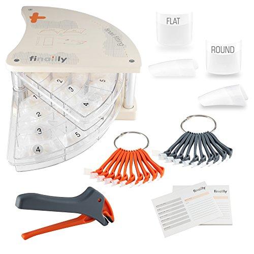 720 professionnel Tips dans le système finail Fitting Tip maillant – Round et Flat + Pince + 2 tipfächer + Nails Factory Swing Case de qualité
