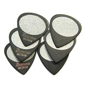 Ibanez BPA16MS-BK Lot de 6 médiators Grip Wizard, grip sable, épaisseur Medium Noir