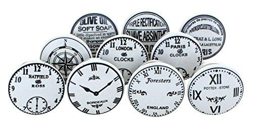 Juego de pomos de cerámica con diseño de reloj, estilo vintage y chic, de G Decor, 10 unidades