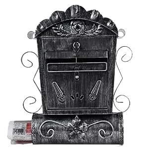Songmics Antik Briefkasten Briefbox Postkasten Mailbox Zeitungsbox (Anthrazit) GMB002