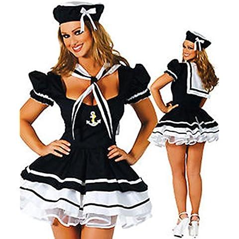 Halloween–Disfraz de marinero sexy de lencería ropa interior, L(UK SIZE 12-14)