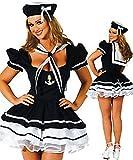 Everglamour Disfraz de marinera sexy  para Halloween , M(UK SIZE 10-12)