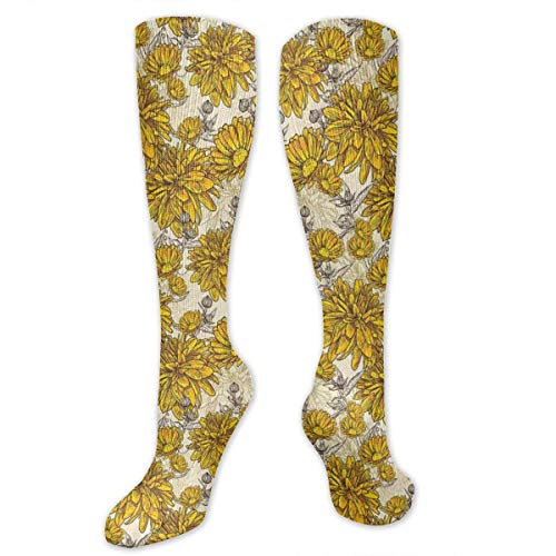 Earth Boost (Unisex Highly Elastic Comfortable Knee High Length Tube Socks,Lily Carnation Bouquet Beauty Botany Field Flourishing Mother Nature Theme,Compression Socks Boost Stamina,Earth Yellow Beige)