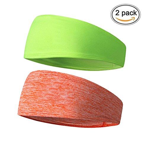 VIMOV Herren Stirnband - Sport Schweißband für Laufen, Radfahren, Yoga, Basketball - Dehnbar Feuchtigkeit Wicking Haarband, (2 Pack) Orange und Grün