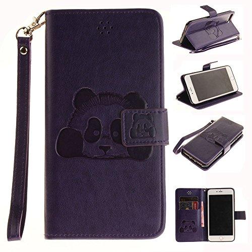 iPhone Case Cover Solid Color 3D niedlichen Panda geprägt PU-Leder Tasche Cover mit Lanyand Card Slots für IPhone 7 Plus ( Color : 1 , Size : IPhone 7 Plus ) 8